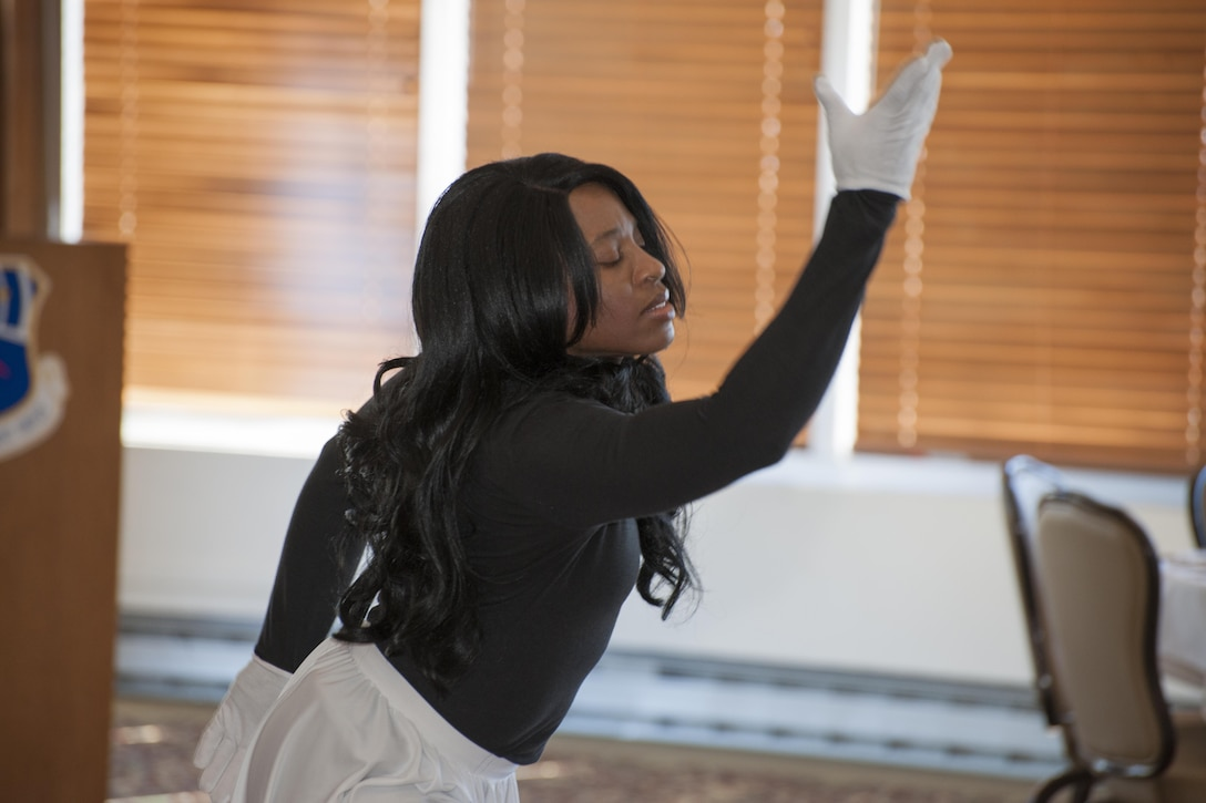 Andrea Payne, pictured, performs a beautiful dance routine for those in attendance at the AEDC African American Heritage Committee Luncheon on Feb. 16 at the Arnold Lakeside Center. (U.S. Air Force photo/Jacqueline Cowan)