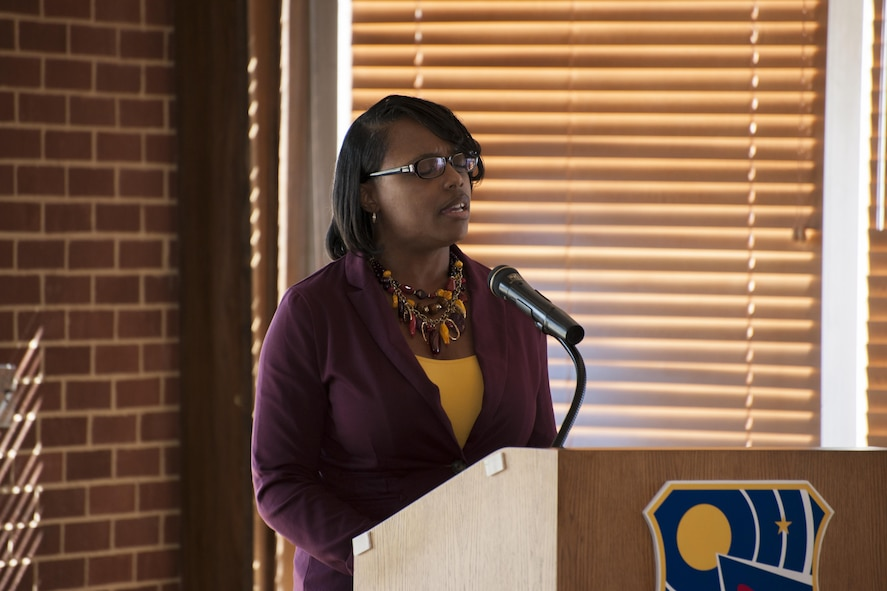 Following opening remarks, Tiffany Singleton, pictured, sings the National Anthem at the 2017 African American Heritage Committee Luncheon on Feb. 16 at the Arnold Lakeside Center. (U.S. Air Force photo/Jacqueline Cowan)