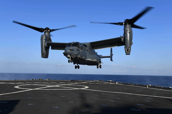 170313-N-ME988-466  MEDITERRANEAN SEA (March 13, 2017) A CV-22 Osprey assigned to Special Operations Command Europe approaches the flight deck of the amphibious dock landing ship USS Carter Hall (LSD 50) during deck landing qualifications. The ship is deployed with the Bataan Amphibious Ready Group to support maritime security operations and theater security cooperation efforts in the U.S. 6th Fleet area of operations. (U.S. Navy photo by Mass Communication Specialist 1st Class Darren M. Moore/Released)