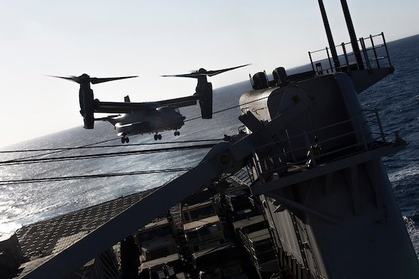 MEDITERRANEAN SEA (March 12, 2017) A U.S. Air Force CV-22 Osprey with the 7th Special Operations Squadron, 352nd Special Operations Wing departs the flight deck of USS Carter Hall (LSD 50) during deck landing qualifications in the Mediterranean Sea March 12, 2017. Carter Hall, with elements of the 24th Marine Expeditionary Unit aboard, is currently deployed with the Bataan Amphibious Ready Group in support of maritime security operations and theater security cooperation efforts in the U.S. 6th Fleet area of operations. (U.S. Marine Corps photo by Sgt. Matthew Callahan/Released)