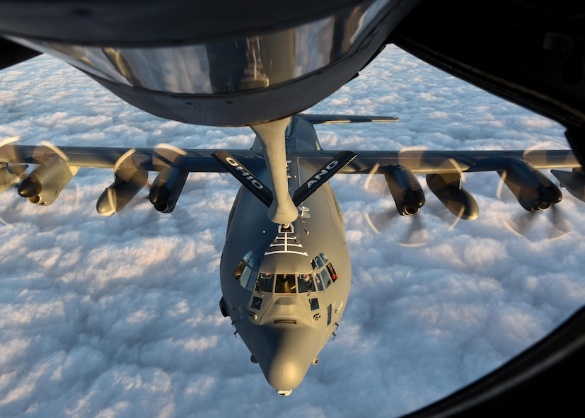 A U.S. Air Force MC-130J Commando II with the 9th Special Operations Squadron receives fuel from a KC-135R Stratotanker with the 121st Air Refueling Wing, Ohio Air National Guard, for refueling during a training sortie in support of Emerald Warrior 17 March 7, 2017. Emerald Warrior is a U.S. Special Operations Command exercise during which joint special operations forces train to respond to various threats across the spectrum of conflict. (U.S. Air National Guard photo by Senior Airman Ashley Williams)