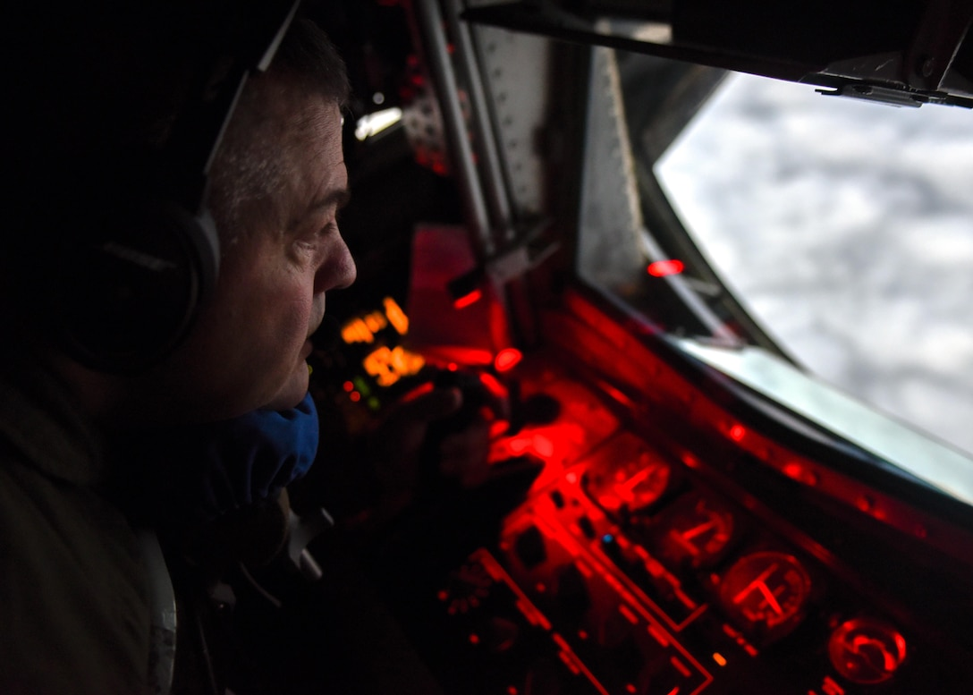 U.S. Air Force Tech Sgt. Mark Perkins, a boom operator with the 121st Air Refueling Wing, Ohio Air National Guard prepares to refuel an MC-130J Commando II with the 9th Special Operations Squadron during a training sortie in support of Emerald Warrior 17 March 7, 2017. Emerald Warrior is a U.S. Special Operations Command exercise during which joint special operations forces train to respond to various threats across the spectrum of conflict. (U.S. Air National Guard photo by Senior Airman Ashley Williams)