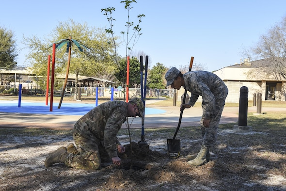 Staff Sgt. Travis Nunweiler, a structural craftsman, left, and Airman 1st Class Marlon Perez, execution support with the 1st Special Operations Civil Engineer Squadron, prepare a hole to plant a tree at the community park, Hurlburt Field, Fla., March 17, 2017. The trees were planted in honor of Arbor Day, observed on the fourth Friday of April. (U.S. Air Force photo by Senior Airman Jeff Parkinson)