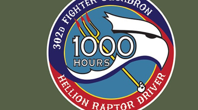 Hellion Raptor drivers receive a 1,000-hour patch for achieving that milestone in the F-22 Raptor.