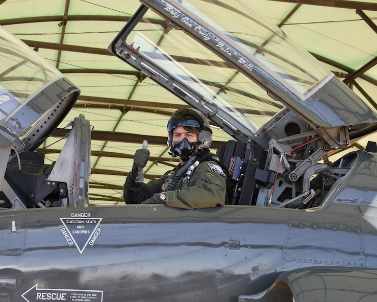Brig. Gen. Craig Wills, Director of Strategic Plans, Requirements and Programs, Headquarters Pacific Air Forces, Joint Base Pearl Harbor-Hickam, Hawaii, prepares to take off in a T-38 Talon aircraft for an orientation flight March 10, 2017, at Columbus Air Force Base, Mississippi. Wills was the keynote speaker for Specialized Undergraduate Pilot Training Class 17-06's graduation.