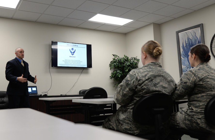 Master Sgt. Bryan Pitman, 89th Operations Group Superintendent of Flight Attendant Retraining, briefs Airmen about the flight attendant career field March 15, 2017, at Columbus Air Force Base, Mississippi. The flight attendant career field is recruiting First-Term Airmen and eligible NCOs for retraining into the career field.
