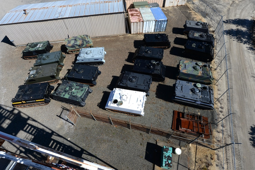 M113A2 Armored Personnel Carriers (APC), acquired from the Defense Logistics Agency through the Reutilization Transfer Donation program, are staged to become targets at the 177th Fighter Wing Det. 1 - Warren Grove Bombing Range in Burlington County, N.J. on Mar. 2, 2017. The eighteen APCs were pulled by civilian law enforcement by Presidential mandate to demilitarize police departments resulting in a cost savings of almost $3 million. (U.S. Air National Guard photo by Master Sgt. Andrew J. Moseley/Released)