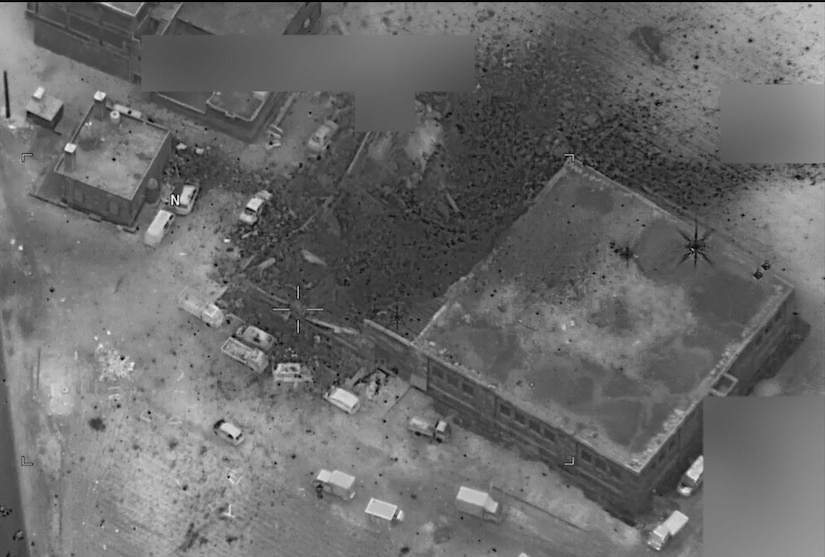 Defense Department officials released this aerial photograph taken after a March 16, 2017, U.S. strike in Jinah, Syria. Military officials believe dozens of al-Qaida terrorist leaders were killed in the strike. The mosque in the left edge of the photo was not targeted, Pentagon spokesman Navy Capt. Jeff Davis told reporters at the Pentagon on March 17. DoD photo