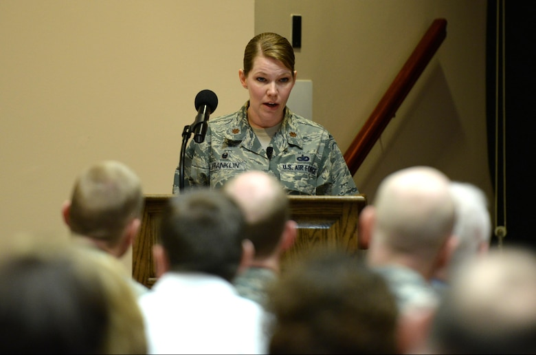 U.S. Air Force Maj. Brenda Franklin, 97th Security Forces Squadron commander, shares her experiences of becoming a female commander during the Altus Air Force Base Women's History Month celebration, March 16, 2017, at Altus AFB, Oklahoma. This event gave the opportunity for the base to honor and recognize women in the work force, past and present. (U.S. Air Force photo by Airman 1st Class Cody Dowell/released)