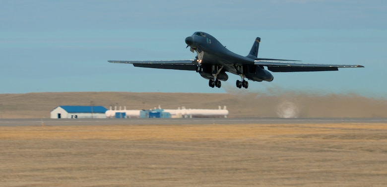 A B-1 bomber assigned to the 37th Bomb Squadron launches for exercise Combat Raider March 15, 2017, at Ellsworth Air Force Base, S.D. The B-1 was first stationed at Ellsworth in 1987 and has been involved in every Large Scale Exercise at the Powder River Training Complex, north of Belle Fourche, S.D. (U.S. Air Force photo by Airman Nicolas Z. Erwin)
