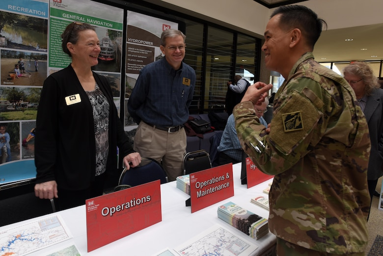 Brig. Gen. Mark Toy, U.S. Army Corps of Engineers Great Lakes and Ohio River Division commander, talks with Diane Parks, Nashville District Operations Division chief, during the First Annual Nashville District Small Business Opportunities Open House at Tennessee State University in Nashville, Tenn., March 16, 2017. The event gave business leaders direct access to Nashville District officials from across the organization.