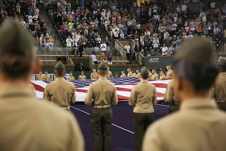 "Marines present the national colors during the 15th Banque Nationale de Paris Paribas Open's ""Salute to Heroes,"" in Indian Wells, California."