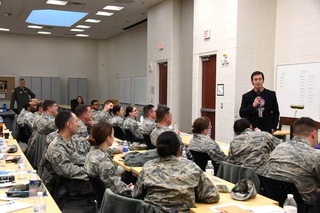 Bethany Beach, Del- Chris McKinley speaks to the members of the 166th Airlift Wing about the importance of having a warrior mindset, mental toughness, and a positive attitude on Mar. 6, 2017. McKinley also described his career as a U.S. Navy Seal, highlighted challenging moments during his service, and how he overcame challenges during the Delaware Air National Guard TSgt Symposium held from Mar. 6-7 2017 at the Bethany Beach Training Site. The symposium focused on career progression, leadership concepts, and professionalism. (U.S. Air National Guard photo by Tech. Sgt. Gwendolyn Blakley/Released).