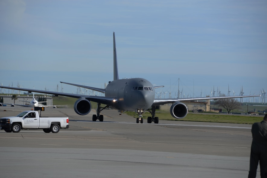 A KC-46A Pegasus taxis to its parking spot after landing at Travis Air Force Base, Calif., for the first time March 7, 2017. Travis was selected as a preferred location for the Air Force's newest refueling aircraft in January. The aircraft is scheduled to complete ground and air testing during its time at Travis. (U.S. Air Force photo by Tech. Sgt. James Hodgman)