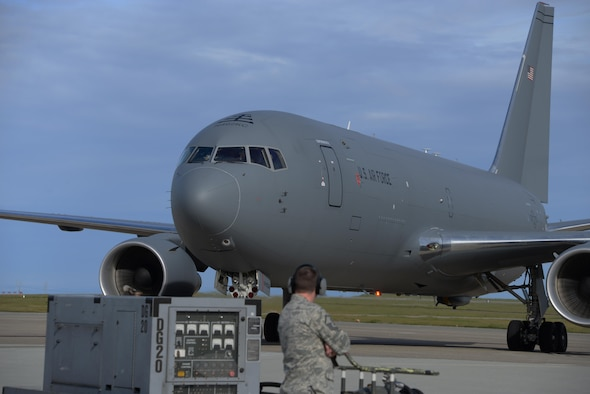 A KC-46A Pegasustaxis to its parking spot after landing at Travis Air Force Base, Calif., for the first time March 7, 2017. Travis was selected as a preferred location for the Air Force's newest refueling aircraft in January. The aircraft is scheduled to complete ground and air testing during its time at Travis. (U.S. Air Force photo by Tech. Sgt. James Hodgman)  170307