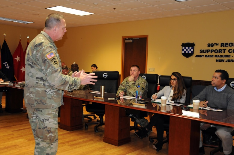 Maj. Gen. Scottie Dean Carpenter, commanding general of the U.S. Army Reserve's 84th Training Command, briefs congressional staffers about WAREX 78-17-01 March 17at Joint Base McGuire-Dix-Lakehurst, New Jersey.  Warrior Exercises are designed to prepare units to be combat-ready by immersing them in scenarios where they train as they would fight.  Roughly 60 units from the U.S. Army Reserve, U.S. Army, U.S. Air Force and other components are participating in the WAREX.