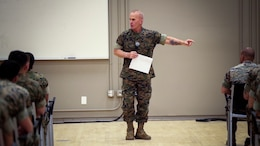Sgt. Maj. Brad Kasal, I Marine Expeditionary Force, speaks with noncommissioned officers assigned to 1st Marine Regiment, 1st Marine Division, at Marine Corps Base Camp Pendleton, California, March 14, 2017.  During the talk, Kasal spoke about the need for all Marines and sailors to exercise the same devotion to one another every day that they would show while in combat.