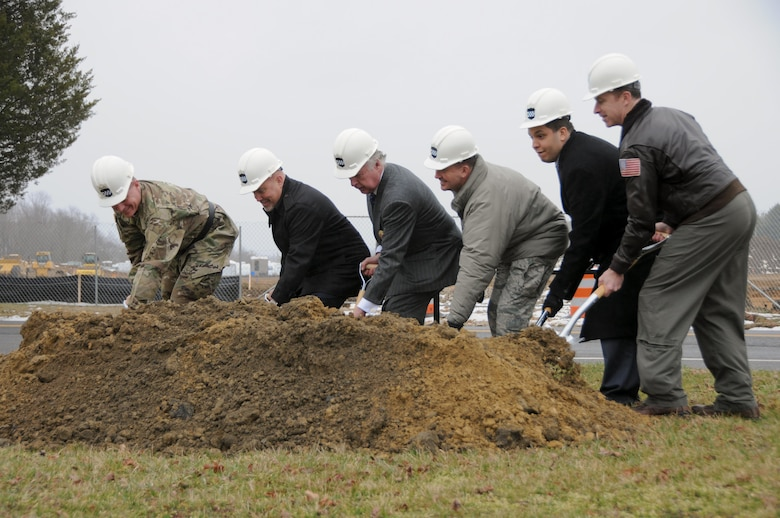 The U.S. Army Reserve marked another milestone in helping its Soldiers remain a trained and ready part of the Total Force by breaking ground March 18 on a new Army Reserve Center at Joint Base McGuire-Dix-Lakehurst, New Jersey. Pictured from left are: Maj. Gen. Troy D. Kok, commanding general of the U.S. Army Reserve's 99th Regional Support Command; U.S. Representative Tom MacArthur, representing New Jersey's 3rd Congressional District; Mr. Robert J. Maguire, civilian aide to the Secretary of the Army for New Jersey; Col. Frederick D. Thaden, commander of JBMDL; Mr. Richard Locklear from the office of U.S. Senator Bob Menendez; and Navy Captain Christopher Bergen, commander of Naval Support Activity Lakehurst and deputy commander of JBMDL.