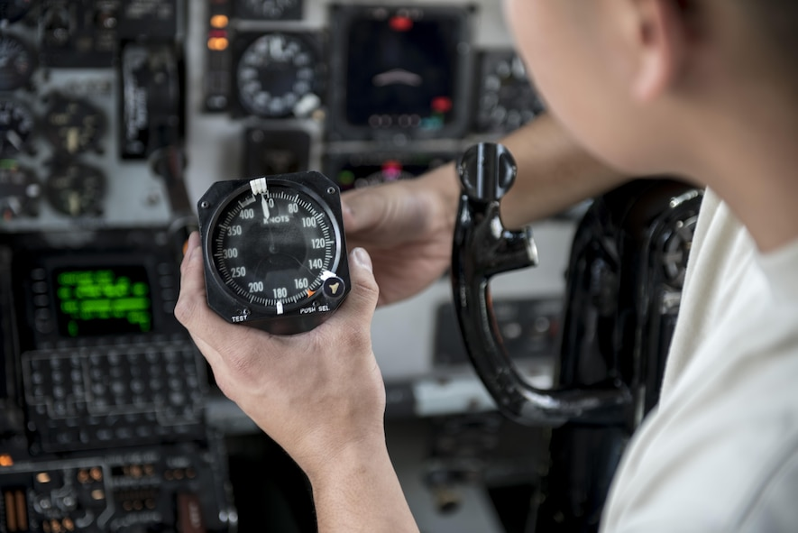 U.S. Air Force Airman 1st Class Ryan Celestino, 909th Aircraft Maintenance Unit instrument and flight control systems journeyman, inspects the digital speed indicator of a KC-135R March 15, 2017, at Kadena Air Base, Japan. Instrument and flight control systems Airmen constantly fix and repair instruments on aircraft to ensure safety. (U.S. Air Force photo by Senior Airman Omari Bernard)