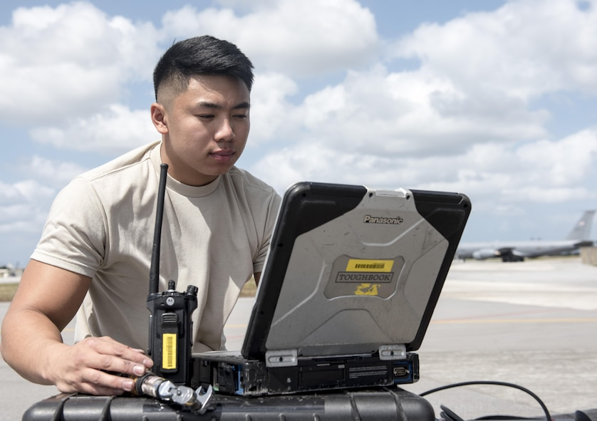 U.S. Air Force Airman 1st Class Ryan Celestino, 909th Aircraft Maintenance Unit instrument and flight control systems journeyman, reviews training orders while performing maintenance on a KC-135R March 15, 2017, at Kadena Air Base, Japan. Maintainers constantly check and use their training orders to properly maintain aircraft.  (U.S. Air Force photo by Senior Airman Omari Bernard)