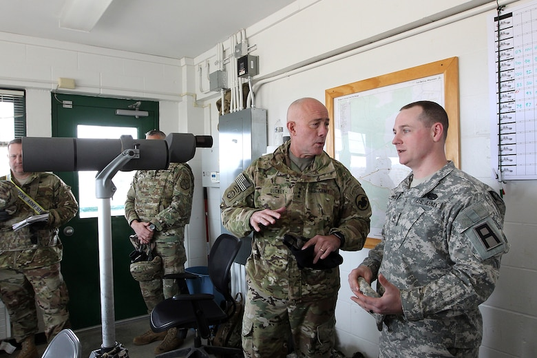 LTG Charles Luckey, left, Commanding General, U.S. Army Reserve, discusses crews engagement techniques with Sgt. 1st Class Cole Weih, exercise Vehicle Crew Evaluator and observer coach/trainer assigned to 1-337th Brigade Support Battalion, 181st Infantry Brigade, First Army, during Operation Cold Steel in his second visit to the exercise at Fort McCoy, Wisconsin, Mar. 18, 2017. One of the goals of OCS is to produce trained vehicle crew evaluators that return to the operational and functional commands in order to build the basics there and conduct vehicle crew training for future exercises. Operation Cold Steel is the U.S. Army Reserve's crew-served weapons qualification and validation exercise to ensure that America's Army Reserve units and Soldiers are trained and ready to deploy on short-notice and bring combat-ready and lethal firepower in support of the Army and joint partners anywhere in the world. 475 crews with an estimated 1,600 Army Reserve Soldiers will certify in M2, M19 and M240 Bravo gunner platforms.