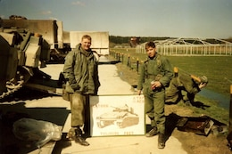 "Sgt. 1st Class Mark Korte currently with Company D, 457th Civil Affairs Battalion, 7th Mission Support Command, stands during ""Gunnery,"" on right, in 1988 when he was previously stationed in Germany as a Regular Army active-duty Soldier."