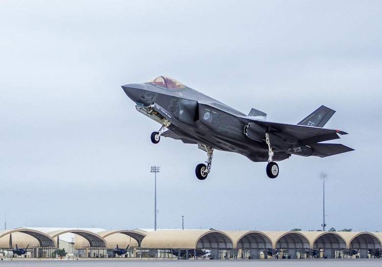 A 33rd Fighter Wing F-35A Lightning II takes off Feb. 27 to conduct sorties at Eglin Air Force Base, Fla. With conventional takeoff and landing capability, the F-35A is built for traditional Air Force bases. The F-35A is an agile, versatile, high-performance, 9g capable multirole fighter that combines stealth, sensor fusion, and unprecedented situational awareness. The 33rd Fighter Wing is a graduate flying and maintenance training wing for the F-35 Lightning II. (U.S. Air Force photo/Kristin Stewart)