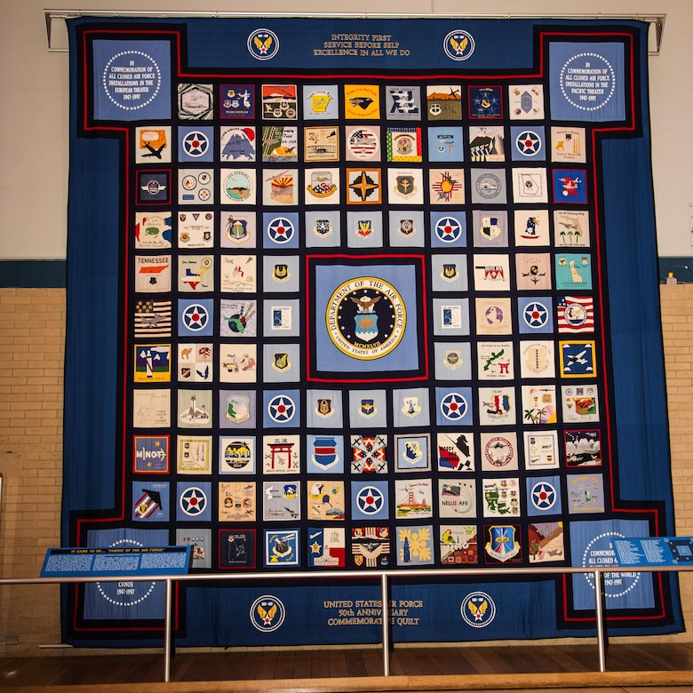 AYTON, Ohio -- U.S. Air Force 50th Anniversary Commemorative Quilt on display at the National Museum of the U.S. Air Force. (U.S. Air Force photo by Ken LaRock)