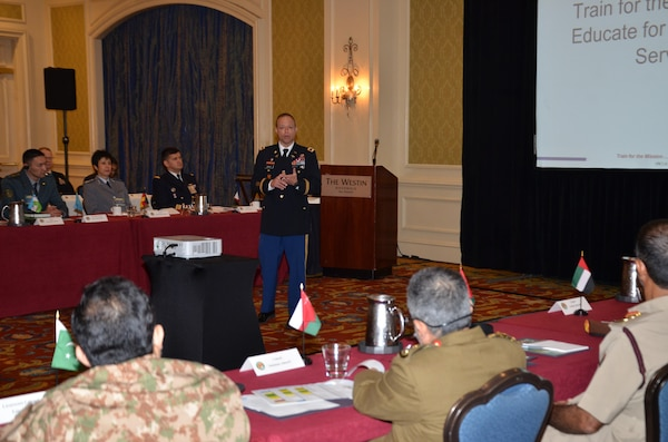 Col. Jack Davis, commandant of the Medical Education and Training Campus, presents a brief to participants in the U.S. Central Command Theater Medical Conference held at the Westin Riverwalk in San Antonio. Davis, a family nurse practitioner in the U.S. Army Nurse Corp, spoke about the tri-Service, enlisted medical training campus for Army, Navy, and Air Force students and answered questions. Medical professionals representing more than 10 countries within the US Central Command area of operation, Europe, and the U.S. attended the conference to aid in the continued development of capabilities that will serve to improve regional interoperability and cooperation. (Medical Education and Training Campus Public Affairs photo by Lisa Braun/Released)