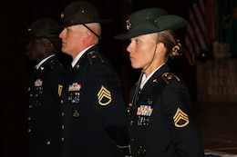 Army Reserve Staff Sgt. Briana Popp stands before her class during her graduation from the Drill Sergeant Academy at Fort Jackson, S.C. March 8, 2017. Popp earned the titles of Iron Female and Distinguished Honor Graduate and will be a drill sergeant with the 98th Training Division (IET). Popp was the first female Distinguished Honor Graduate in the past six cycles and happened to graduate in March, which is Women's History Month. Coincidentally, Popp's graduation day was International Women's Day as well.  (U.S. Army Reserve Photo by Maj. Michelle Lunato/released)