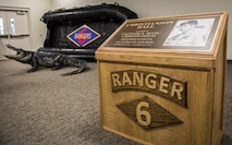 A plaque for Capt. A. Marc Christianson III stands in the newly dedicated Christianson Hall after the 6th Ranger Training Battalion's headquarters building dedication ceremony March 17 at Eglin Air Force Base, Fla.  The building was dedicated to Christianson, who passed away on the training range in 1972.  (U.S. Air Force photo/Samuel King Jr.)
