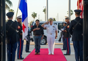 MIAMI (March 20, 2017) -- Navy Adm. Kurt W. Tidd, commander of U.S. Southern Command, and Panama's Minister of Security, Alexis Bethancourt, render honors during Bethancourt's arrival for an official visit to SOUTHCOM headquarters. Bethancourt met with Tidd to discuss continued security cooperation.  (Photo by Army Master Sgt. Clifton McDonald, U.S. Southern Command Public Affairs)