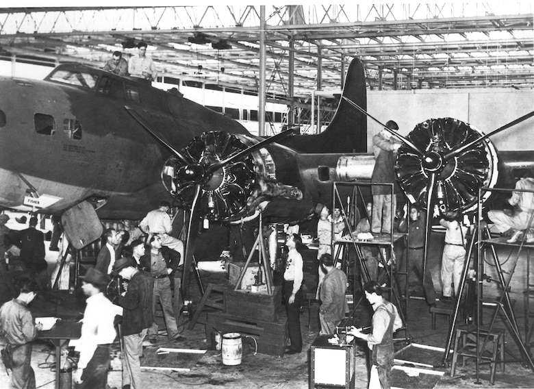Workers on a B-17 modification, circa 1942. (Photo courtesy of Tinker History Office)