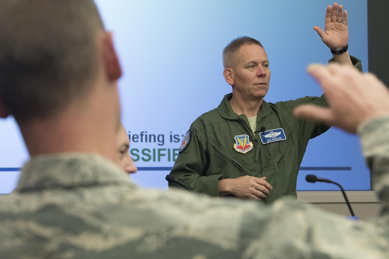 Maj. Gen. John K. McMullen, vice commander, Air Combat Command, speaks during an annual weather conference at Joint Base Langley-Eustis, March 13, 2017. The purpose of the conference was to shape the future of the weather force by discussing topics that affect the worldwide areas in the Air Force. Additionally, it gave leaders an opportunity to brainstorm solutions to rising concerns in the career field. (U.S. Air Force photo by Staff Sgt. Nick Wilson)