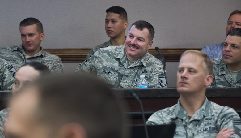 U.S. Air Force Airmen in the weather career field laugh during a discussion at an annual weather conference at Joint Base Langley-Eustis, March 13, 2017. The purpose of the conference was to shape the future of the weather force by discussing topics that affect the worldwide areas in the Air Force. Additionally, it gave leaders an opportunity to brainstorm solutions to rising concerns in the career field. (U.S. Air Force photo by Staff Sgt. Nick Wilson)