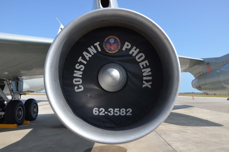 Close up of a WC-135 Constant Phoenix engine cover during the aircraft's visit to Patrick AFB, Fla., Feb. 14, 2017.  (U.S. Air Force photo by Susan A. Romano)