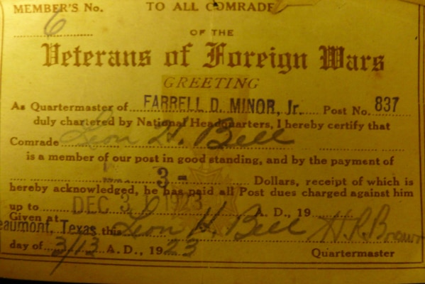 VFW membership card from 1923, identifying Leon Bell as member no. 6 in the Beaumont, Texas post, having paid his $3 dues for the year.