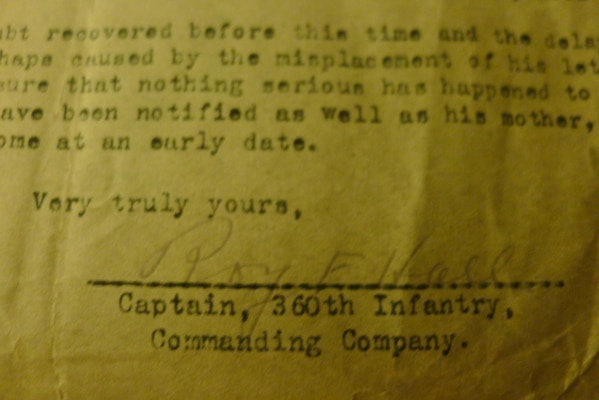 January 1919 letter from Capt. Roy F. Hall, commander of the 360th Regiment to Sgt. Bell's half-sister Lassie, informing him that although the Army does not know where Bell is, it assumes he is on the way home from the war. In fact, he was already home, having arrived at Camp Mills on Long Island, New York. (Hall later became mayor of McKinney, Texas.)