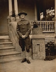 Army Sgt. Leon H. Bell in 1919, after returning from World War I, at the home of his half-sister Lassie and brother-in-law, F.E. Carroll, Park Street, Beaumont, Texas. The U.S. Army continued to issue this uniform into the early days of World War II. DLA Troop Support now supplies all uniforms to U.S. military service members.