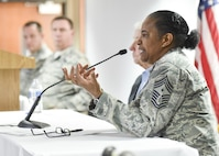Chief Master Sgt. Shelina Frey, Command Chief Master Sgt. for Air Mobility Command, Scott Air Force Base, Illinois, addresses the audience at an enlisted leadership workshop here March 3, 2017. YARS welcomed 82 noncommissioned officers (NCOs) and senior NCOs to a three-day Enlisted Leadership Workshop March 1-3, 2017. The goal of the workshop was to present the Airmen information on things they may not have heard about before like the new blended retirement system and to give them new information about other topics like enlisted performance reports, fitness and special duty assignments. (U.S. Air Force photo/Eric White)