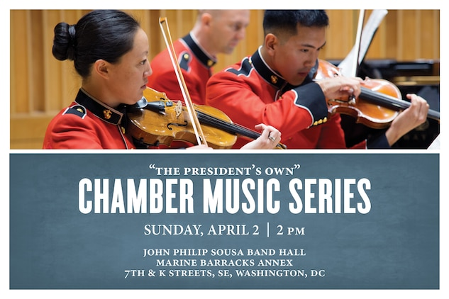 """Coordinated by clarinetist Master Gunnery Sgt. Elizabeth Matera, this concert will feature several different ensembles formed by members of """"The President's Own,"""" including a brass choir, percussion trio, and string and wind ensembles. The concert will take place at 2 p.m., Sunday, April 2, in John Philip Sousa Band Hall at the Marine Barracks Annex. Admission is free and free parking is available under the overpass on 7th street across from the Annex."""