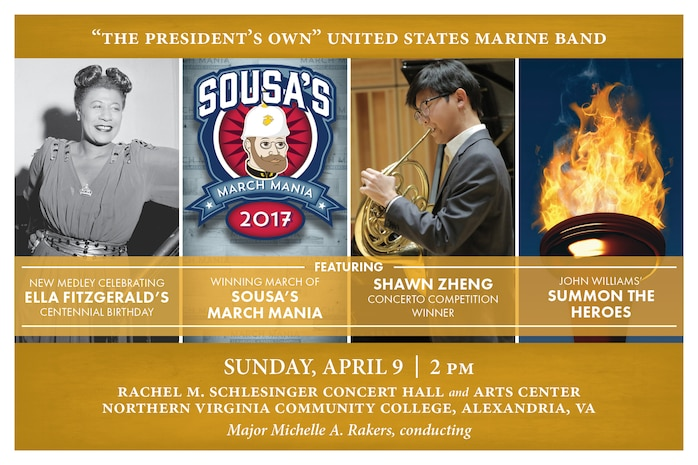 "This concert will feature 2017 Concerto Competition winner French horn player Shawn Zheng performing Richard Strauss' Allegro from Horn Concerto No. 1 in E-flat. The program will feature another winner: the champion march from the Marine Band's annual ""Sousa's March Mania"" tournament. The concert will also include fantastic staples of the wind band repertoire, and a commemorative new arrangement in honor of Ella Fitzgerald's centennial birthday. The concert will take place at 2 p.m., Sunday, April 9, at Northern Virginia Community College's Schlesinger Concert Hall in Alexandria, Va. Free admission and parking."