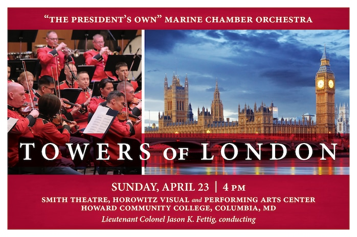 "This concert will include works by some of Great Britain's most prominent composers, including Sir Arthur Sullivan's Overture to Iolanthe; Benjamin Britten's Suite on English Folk Tunes, Opus 90; and Ralph Vaughan Williams' Concerto in F minor for Bass Tuba and Orchestra, featuring assistant principal tuba Gunnery Sgt. Franklin Crawford. The program will close with Franz Joseph Haydn's Symphony No. 104 in D, London. Although Haydn was Austrian, he made several extended stays in England and composed his last 12 symphonies in London which garnered that body of work the nickname of the ""London Symphonies."" The concert will take place at 4 p.m., Sunday, April 23, at Howard Community College's Horowitz Visual and Performing Arts Center in Columbia, Md. Free parking.