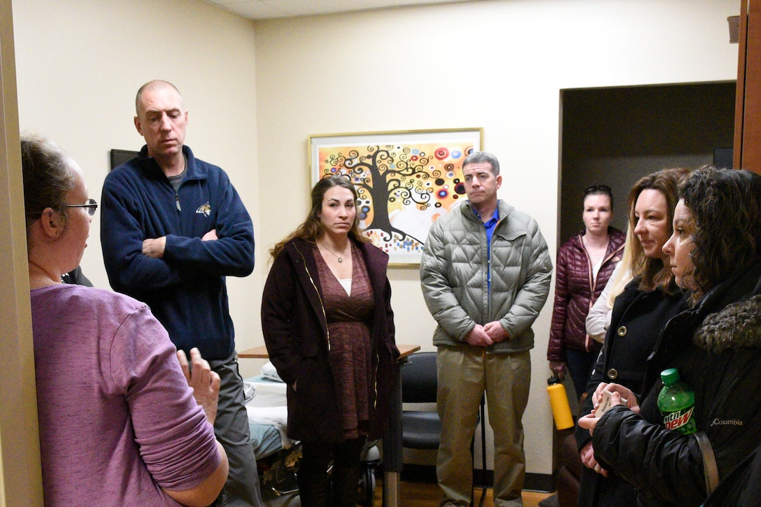Members from the 120th Airlift Wing, Great Falls, Mont., 173rd Fighter Wing, Klamath Falls, Ore., Joint Force Headquarters, Helena, Mont., and the Cascade County victim/witness program listen to a briefing by the sexual assault nurse examiner March 3, 2017 during a tour of Benefis Health System's safe room used for forensic exams as part of victim advocate training in Great Falls. Victim advocates complete a 40-hour training course, background checks, interviews and certification processes to gain the ability to aid victims of sexual assault. (U.S. Air National Guard photo/Staff Sgt. Lindsey Soulsby)