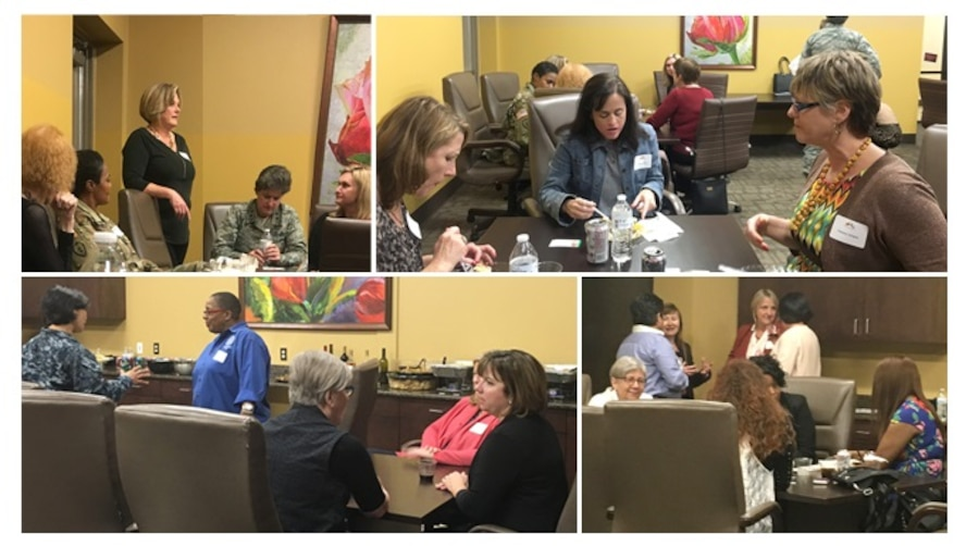 Members of Woman-to-Woman, Leader-to-Leader 2017, San Antonio Chamber Military Affairs Council group meeting in March at the San Antonio Lighthouse for the Blind to discuss job opportunities for senior military women leaders.  (Photos by Gloria Vasquez)