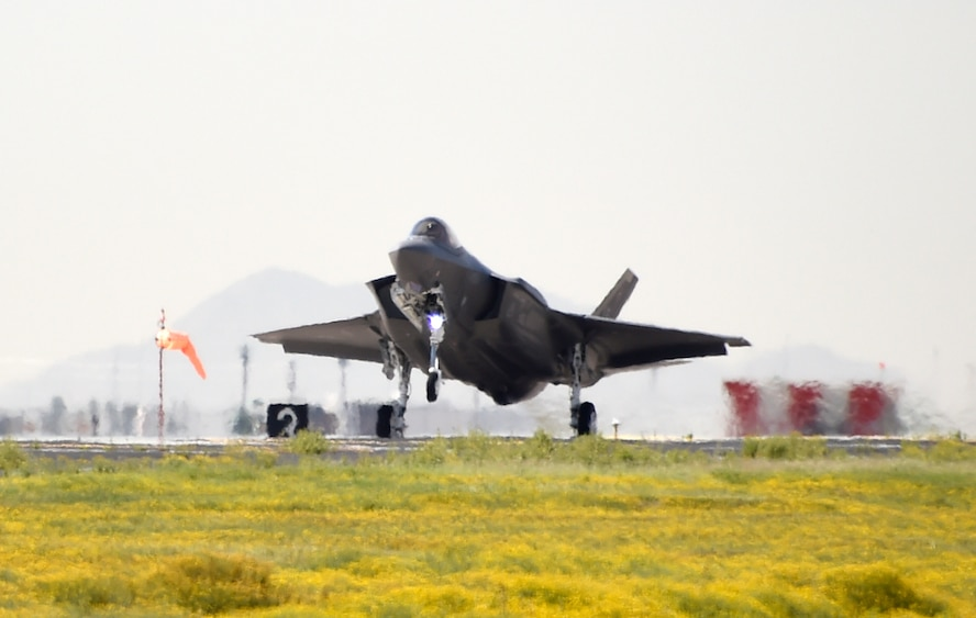 Lt. Col. Matt Vedder, 63rd Fighter Squadron commander, lands the 63rd Fighter Squadron's first F-35 Lightning II aircraft March, 20, 2017, at Luke Air Force Base, Ariz. The new jet makes the 51st F-35 Lightning II aircraft assigned to Luke. (U.S. Air Force photo by Airman 1st Class Alexander Cook)
