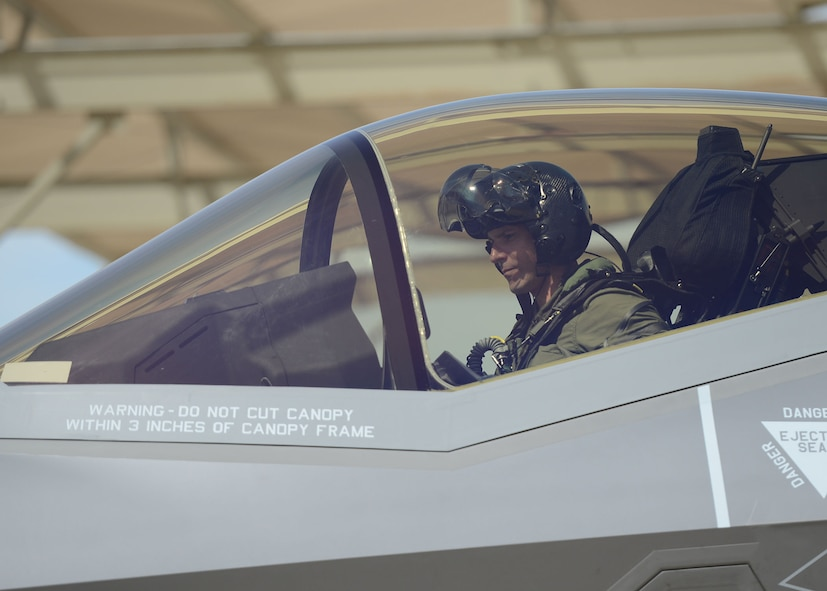Lt. Col. Matthew Vedder, 63rd Fighter Squadron commander, sits in the cockpit of an F-35 Lightning II after landing March 20, 2017, at Luke Air Force Base, Ariz. Vedder flew the squadron's flagship F-35 for the 63rd FS from Fort Worth, Texas, marking the 51st F-35 at Luke. (U.S. Air Force photo by Senior Airman James Hensley)