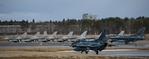 F-16 Fighting Falcons and F-2 Viper Zeros prepare for take-off during a dissimilar air combat-training at Misawa Air Base, Japan, March 17, 2017. The F-16s had the duty of providing a suppression of enemy air defenses and escorting the F-2s into the targets area. (U.S. Air Force photo by Senior Airman Jarrod Vickers)