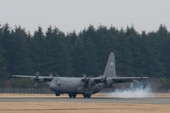 A C-130H Hercules lands, returning from Exercise Cope North Guam March 14, 2017, at Yokota Air Base, Japan. The exercise aims to cultivate regional ties and seeks to enhance the Air Force's interoperability with allied forces in the Endo-Asia Pacific region. (U.S. Air Force photo by Airman 1st Class Donald Hudson)
