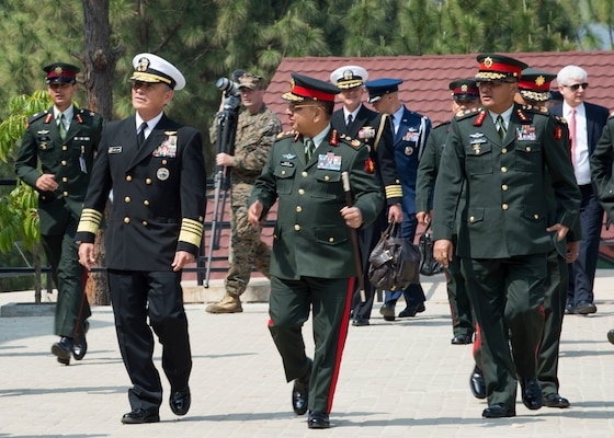 U.S. Pacific Command commander Admiral Harry Harris meets with Chief of Nepalese Army Staff General Rajendra Chhetri after landing at the Birendra Peace Operations Training Centre (BPOTC) in Nepal for the opening ceremony of Shanti Prayas III. Shanti Prayas III is a multinational United Nations peacekeeping exercise designed to provide pre-deployment training to U.N. partner countries in preparation for real-world peacekeeping operations. (U.S. Navy Photo by Petty Officer 2nd Class Taylor Mohr)